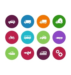 Transport circle icons on white background vector