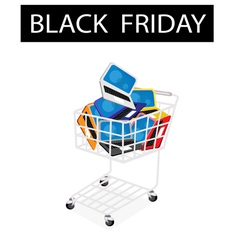 Laptop computer in black friday shopping cart vector