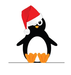 penguin with christmas hat vector image