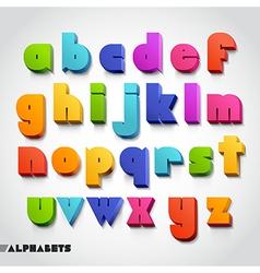 3D alphabet color font vector image vector image
