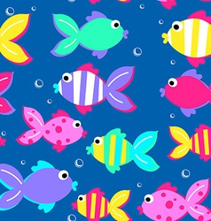 Little tropical fish swimming seamless pattern vector