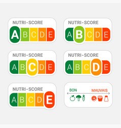 5-colour nutrition label nutri-score system in vector