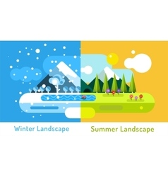 Abstract outdoor summer and winter landscape vector
