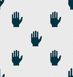 Hand print sign icon stop symbol seamless abstract vector