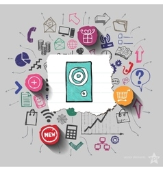Speaker and collage with web icons background vector image