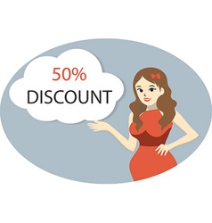 Girl with 50 percent discount vector