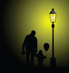 Child silhouette with balloon and father vector
