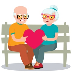 Senior married couple sits on a bench vector