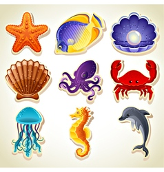 Sea animals icons vector image