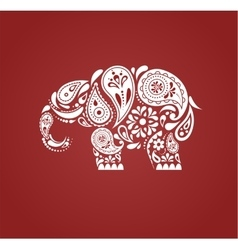 India - parsley patterned elephant indian icon vector