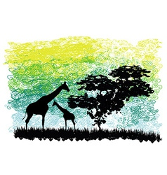 abstract with giraffes and a tree vector image vector image