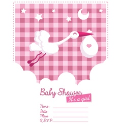 Baby girl invitation with stork vector