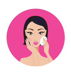 beautiful young asian woman removing make up look vector image vector image