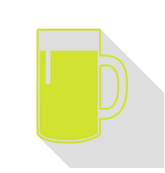 Beer glass sign pear icon with flat style shadow vector