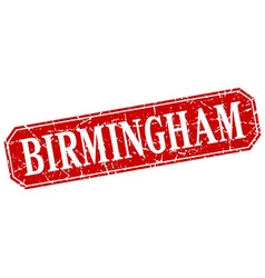 Birmingham red square grunge retro style sign vector