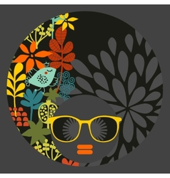 Black head woman with pattern hair vector image