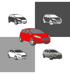 Car compact city vehicle silhouette icons colored vector