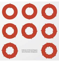 Collection of red color arrow circle flows vector