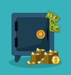 Colorful background with safe box and money bills vector