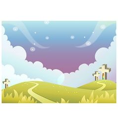 Cross on rolling landscape vector