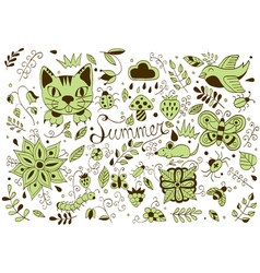 Cute hand drawn set of summer forest elements vector image vector image