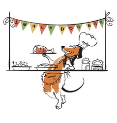 Dog snack bar with cute doodle dog vector