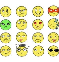 Drawn smiles vector