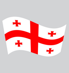 Flag of georgia waving on gray background vector