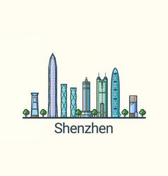 flat line shenzhen banner vector image