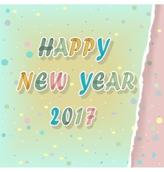 Happy new year 2017 watercolor greeting card vector