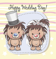 Hedgehog bride and hedgehog groom vector