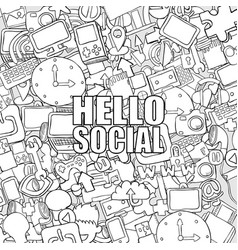 Hello social background with media icons vector