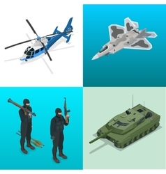 Isometric icons helicopter aircraft tank vector