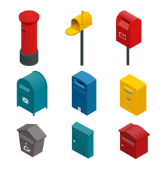 Isometric set of a post box or written postbox vector