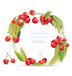 Mixed cherry wreath frame design for tea vector