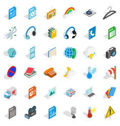 Mobile app icons set isometric style vector