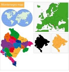 Montenegro map vector image vector image
