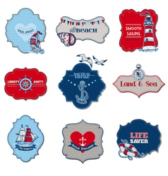 Nautical Sea Tag Elements vector image vector image