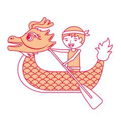 Orange dragon man rowing festival chines vector