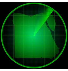 Radar screen with the silhouette of Egypt vector image vector image