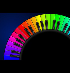 Rainbow piano keys on black background for vector