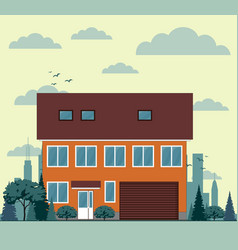 Residential townhouses architecture icons vector