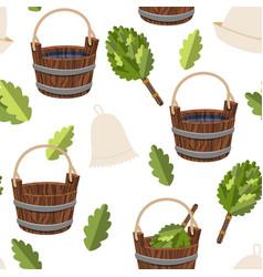 seamless pattern public baths wood bucket spa vector image