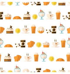 seamless pattern with dessert and drinks vector image vector image