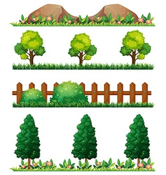 Seamless rocks and fences vector