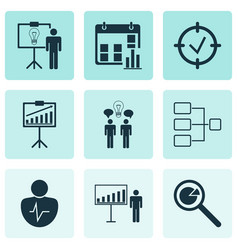 Set of 9 authority icons includes report vector