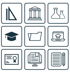 set of 9 education icons includes certificate vector image vector image