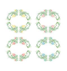 set of decorative floral wreaths vector image