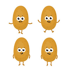 set with cartoon potatoes vector image vector image