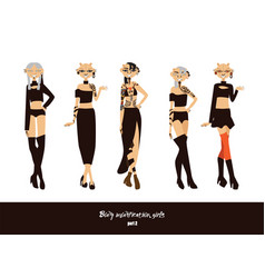 set with lovely young girls with body vector image vector image
